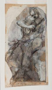 D. 09533— Couple enlacé, ou étude pour Le Baiser, 1880-1889, crayon graphite, encre (plume et lavis), gouache et collage sur papier découpé et collé sur papier vélin imprimé © agence photographique du musée Rodin, ph. J. Manoukian