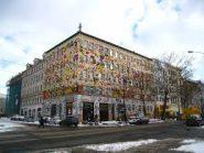 bâtiment décoré par un artiste de Leipzig ( sur la Karl-Liebknecht-Strasse avant l'entrée de Connewitz