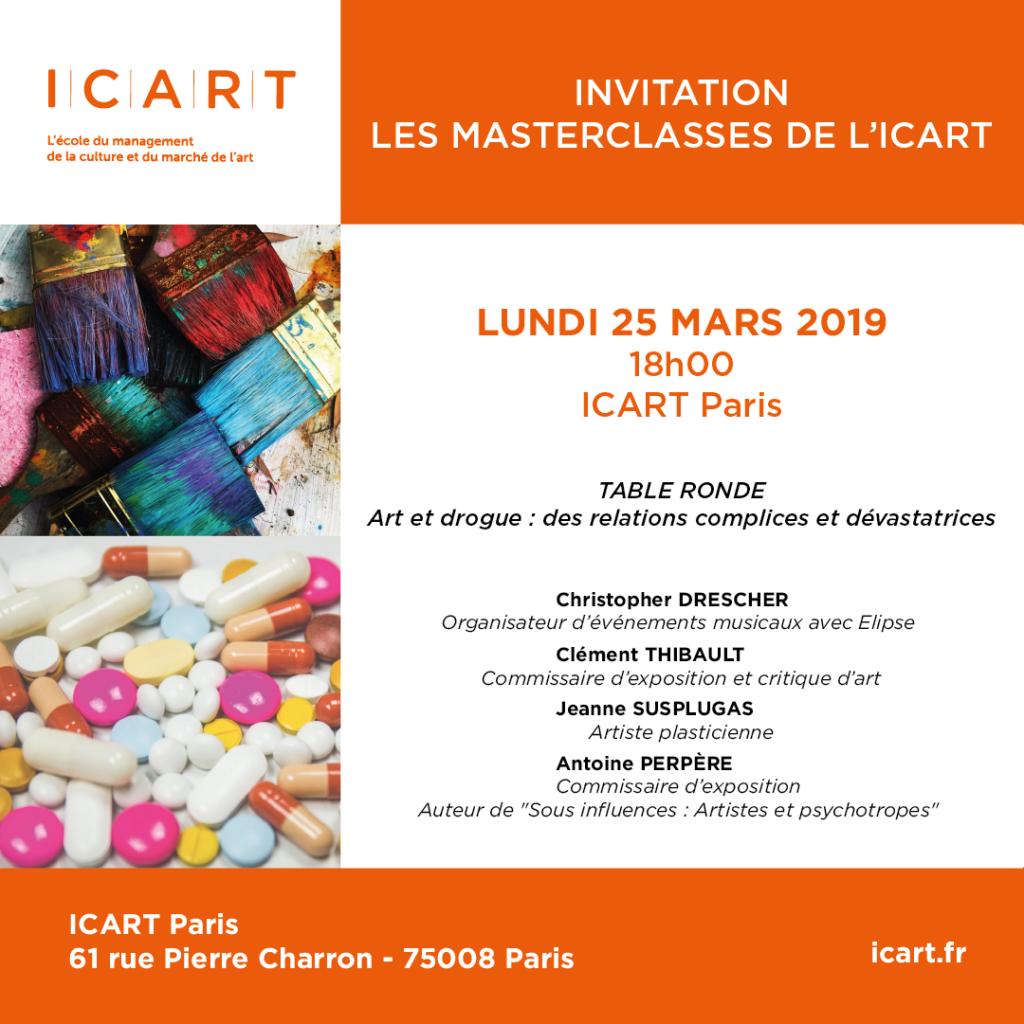 Table ronde autour de «L'art et la drogue: des relations complices et dévastatrices» à l'ICART