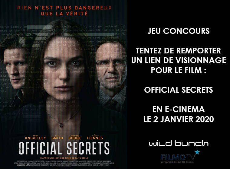Official secrets en e-cinema : 3 liens de visionnage à gagner !