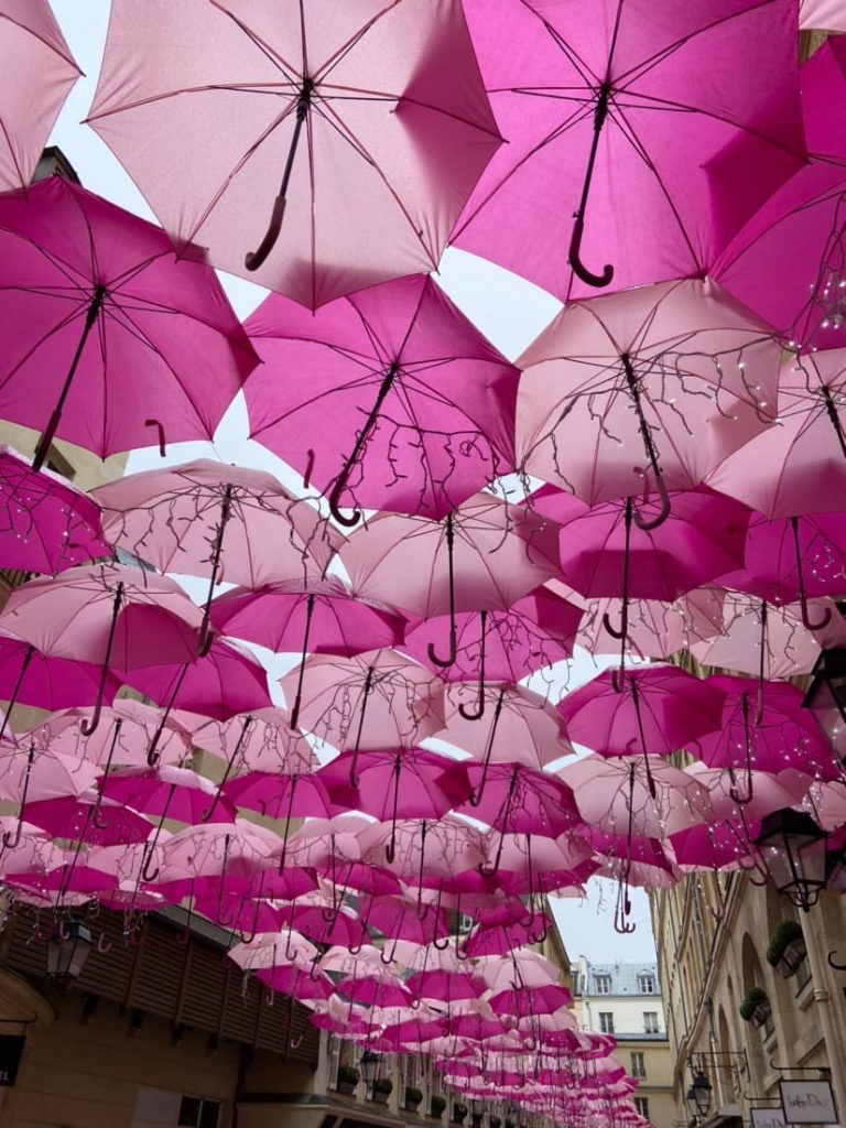 Pink Umbrella skies in Paris