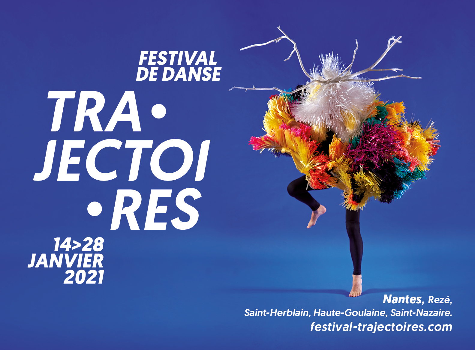 Affiche festival de danse fond bleu