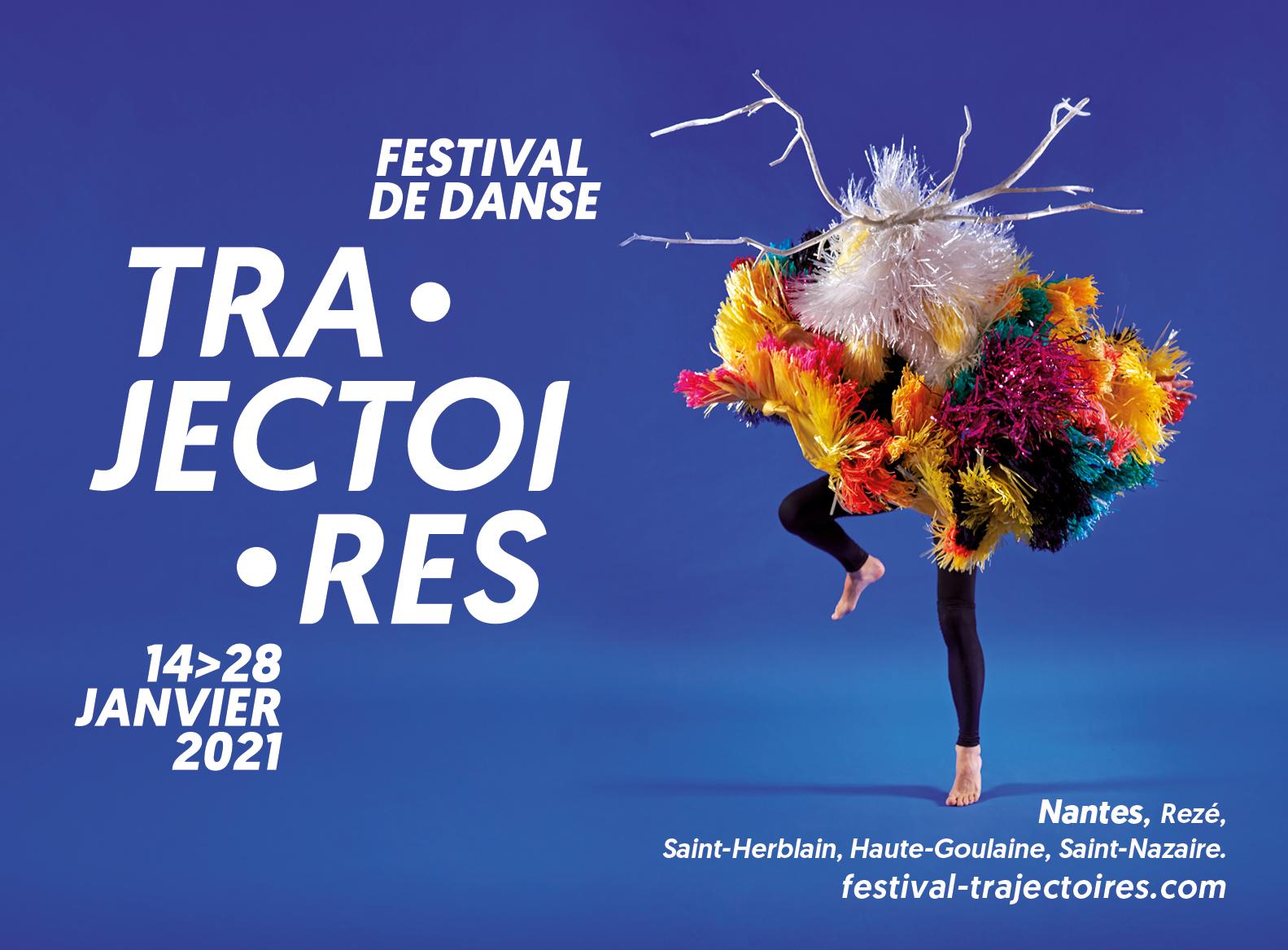 Affiche festival de danse fond bleu