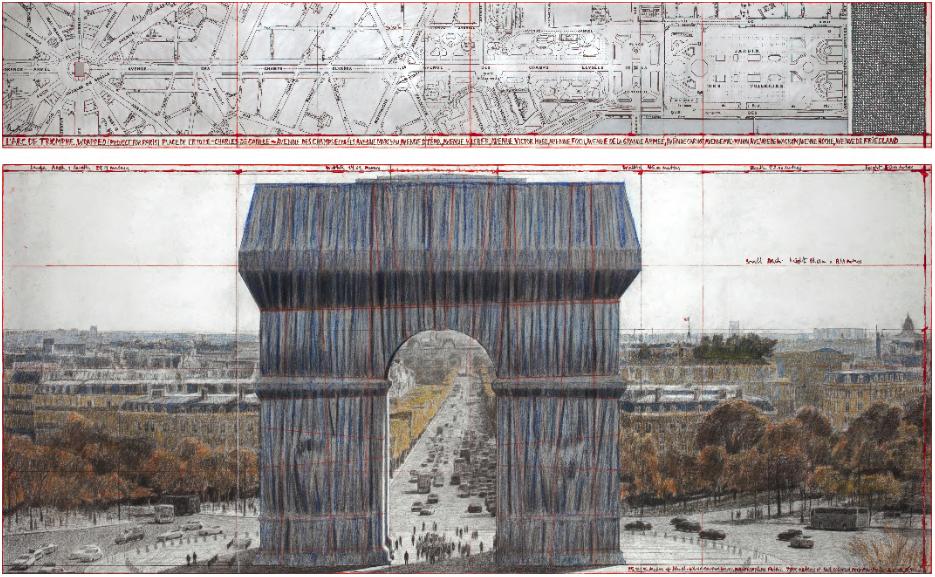 Dernière phase d'installation pour L'Arc de Triomphe Empaqueté de Christo et Jeanne-Claude