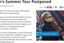 L'appendicite enlève Elton John à ses fans cet été