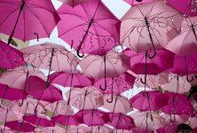 Pink Umbrella skies in Paris