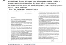 La lettre de Jean Castex au monde de la Culture